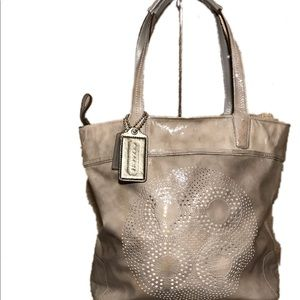 Coach AUDREY Marble Grey Patent Leather Tote Bag